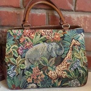 RELIC Elephant Jungle Brocade Carpet Bag Satchel